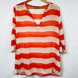 J. Crew Striped Crinkle Tissue Top 3/4 Sleeves